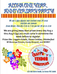 Small Business One-Year Anniversary Giveaway @ The Craft and Vendor Marketplace | La Crosse | Wisconsin | United States