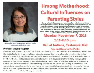 Hmong Motherhood Cultural Influences on Parenting Styles @ 1300 Centennial Hall - Hall of Nations | La Crosse | Wisconsin | United States