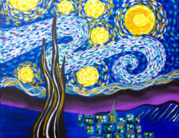 Canvas Painting Class - Starry Night @ Creative Canvas and Board | La Crosse | Wisconsin | United States